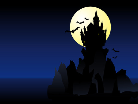 Abstract vector illustration of a dark spooky castle over some cliffs Vector