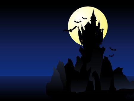 horror castle: Resumen ilustraci�n vectorial de un castillo fantasmal sombra sobre unos acantilados Vectores