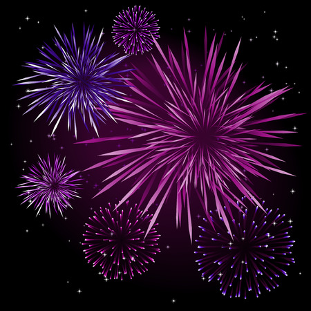 purple stars: Abstract vector illustration of fireworks over a black sky Illustration