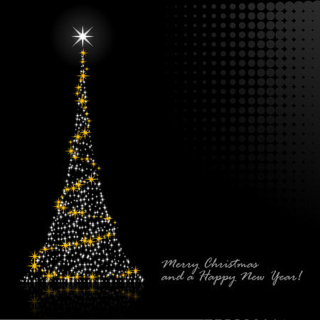 newyears: Abstract vector illustration of a christmas tree over a black background Illustration