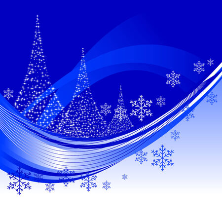 snowing: Abstract vector illustration of a christmas background with three christmas trees Illustration