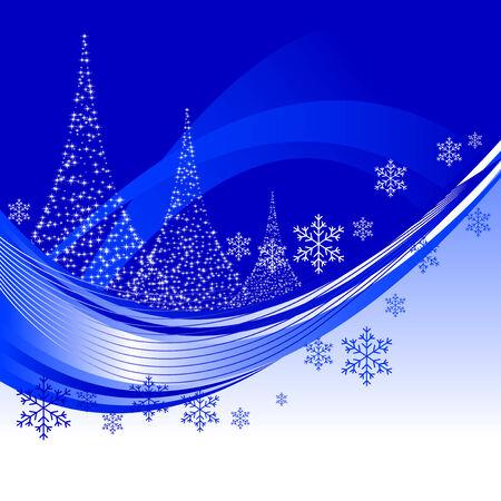 Resumen ilustración vectorial de un fondo de Navidad con tres árboles de Navidad Foto de archivo - 5680148