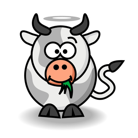 Abstract vector illustration of a cartoonstyle funny cow