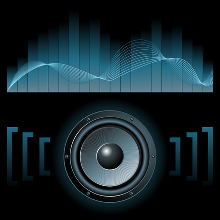 deejay: Abstract vector illustration eines Sprechers mit Grafik-Equalizer Illustration