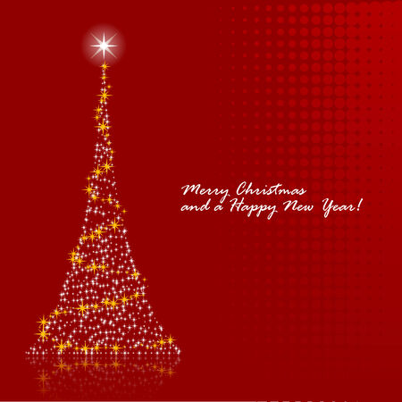 newyears: Abstract vector illustration of a christmas tree over a red background