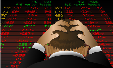 Abstract vector illustration of a stock broker looking at the stock exchange screen in despair Illustration