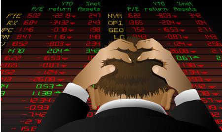 crisis economica: Resumen ilustraci�n vectorial de un corredor de bolsa mirando a la pantalla de bolsa de valores en la desesperaci�n