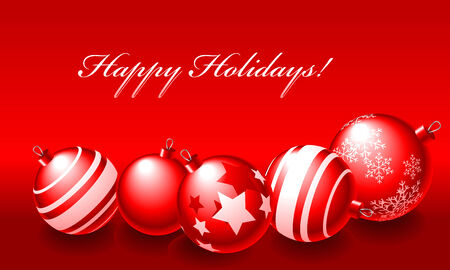 Abstract vector illustration of red christmas balls over a red background with text happy holidays