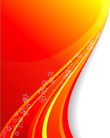 Abstract vector background illustration of red and yellow swirls and starshapes with space for copy Illustration