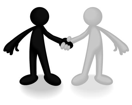 racisme: Abstract illustratie van twee plastic mannen handen schudden