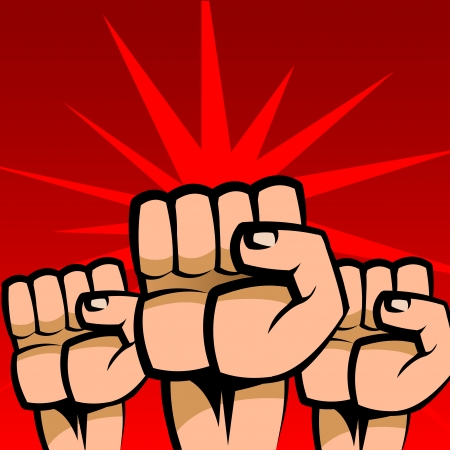 revolution: Abstract illustration of three raised fists