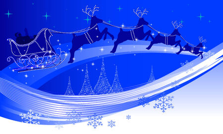 santas sleigh: Abstract illustration of santa claus and his reindeer