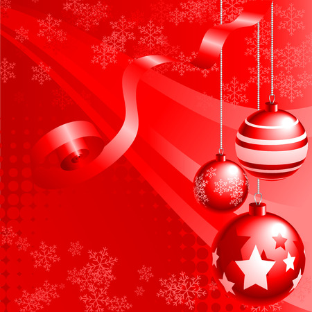 christmasball: Abstract illustration of red christmas balls over a red background Illustration