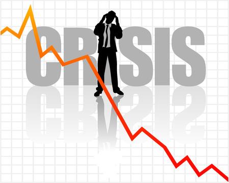 crisis economica: Resumen ilustraci�n de un hombre de negocios con la cabeza
