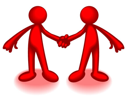 Abstract illustration of two red plastic men shaking hands