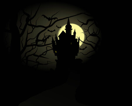 Illustration of a dark spooky castle with view from the forrest Vector