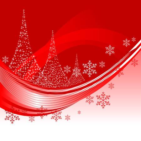 Abstract illustration of a christmas background with three christmas trees
