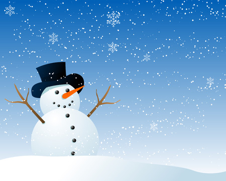snowing: Abstract vector illustration of a cartoon style snowman being happy in the snow Illustration