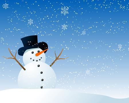 Ilustración vectorial abstracta de un muñeco de nieve de estilo de dibujos animados ser feliz en la nieve Foto de archivo - 5758507