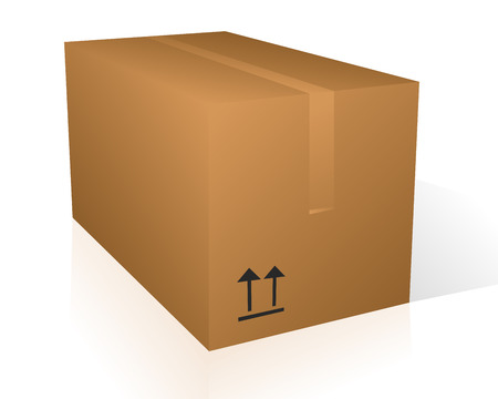 Vector illustration of a cardboard moving box over a white background with space for your text Vector