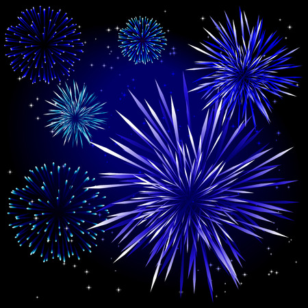 Abstract vector illustration of fireworks over a black sky Stock Vector - 5778906