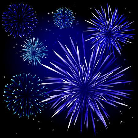 lichteffekte: Abstract Vector Illustration von Feuerwerk �ber einen schwarzen Himmel  Illustration