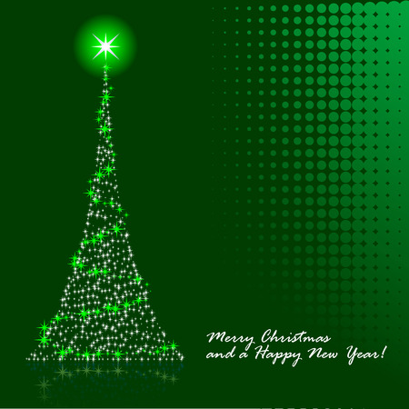 Abstract vector illustration of a christmas tree over a green background Illustration