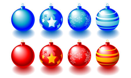 noelle: Abstract illustration of red and blue christmas balls over white Illustration