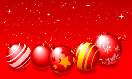 Abstract vector illustration of red christmas balls over a red background Stock Vector - 5797347