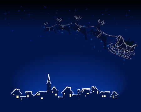 newyears: Abstract vector illustration of santa and his reindeer riding over a snowy town Illustration