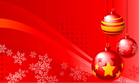 Abstract vector illustration of red christmas balls over a red background