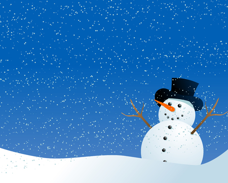 Abstract vector illustration of a cartoon style snowman being happy in the snow Stock Vector - 5884552