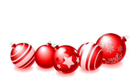 red line: Abstract vector illustration of red christmas balls over a white background Illustration