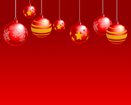 noelle: Abstract vector illustration of red christmas balls over a red background