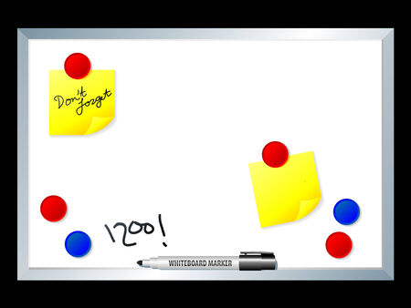 postit note: Abstract vector illustration of a whiteboard with marker and magnets Illustration