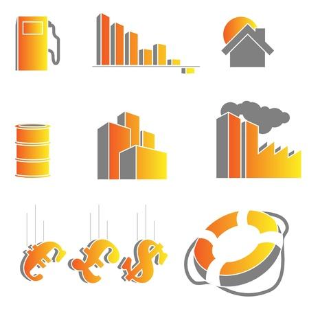 morgage: crisis icons Illustration