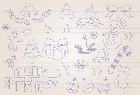 noelle: Abstract sketched christmas icons and symbols Illustration