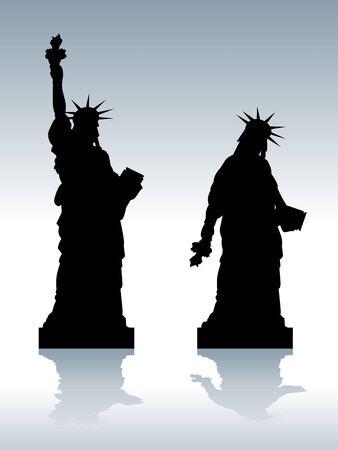 Darstellung der Statue von depressiven Freiheit Silhouette Vektorgrafik
