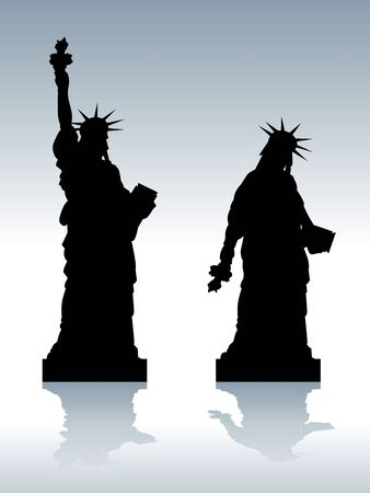 statue of liberty: illustration of statue of depressed Liberty silhouette