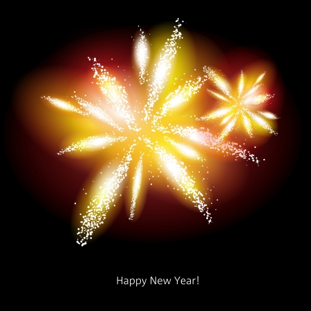 Vector illustration of golden fireworks over a dark background Vector