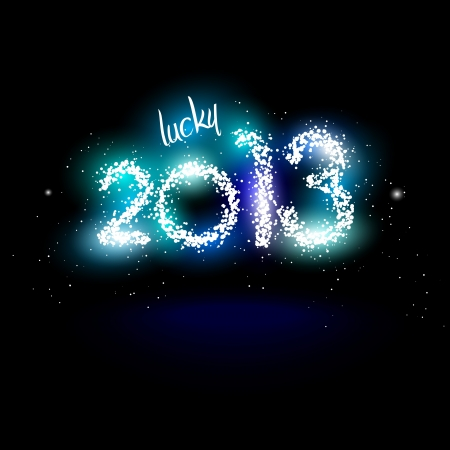 illustration of lucky 2013 in fireworks and sparks Illustration
