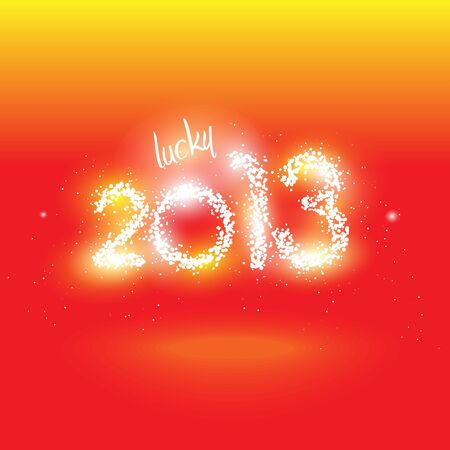 illustration of lucky 2013 in fireworks and sparks Vector