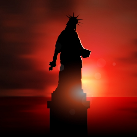 illustration of statue of depressed Liberty silhouette at sunset