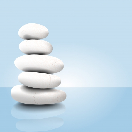 massage stones: Vector illustration of a white stack of zen spa stones
