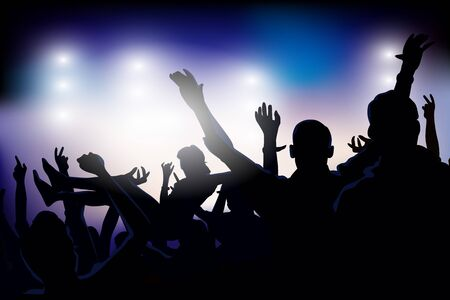 dubstep: Vector illustration of an audience partying at a concert