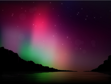 Vector illustration of the northern lights in the sky Illustration