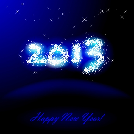 Vector illustration of 2013 in sparkles over blue