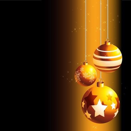 noelle: Vector illustration of golden christmas decoration over black