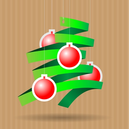 Vector illustration of a paper christmas tree and christmas balls Vector