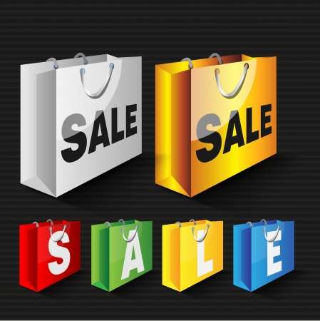 Vector illustration of colored shopping bags with sale Vector
